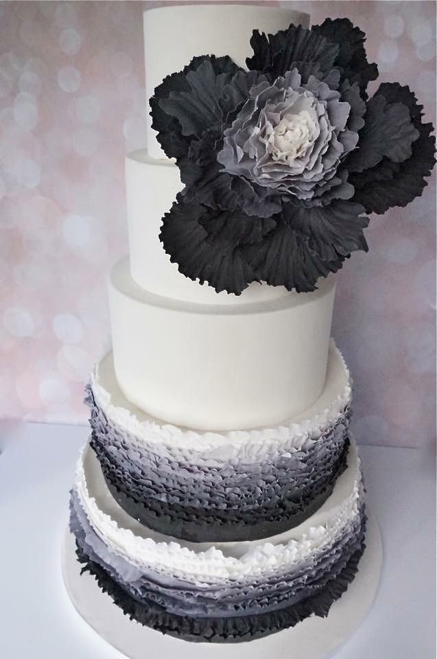 Black & white ruffle wedding