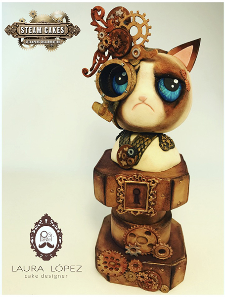 Fondant Steampunk cat cake