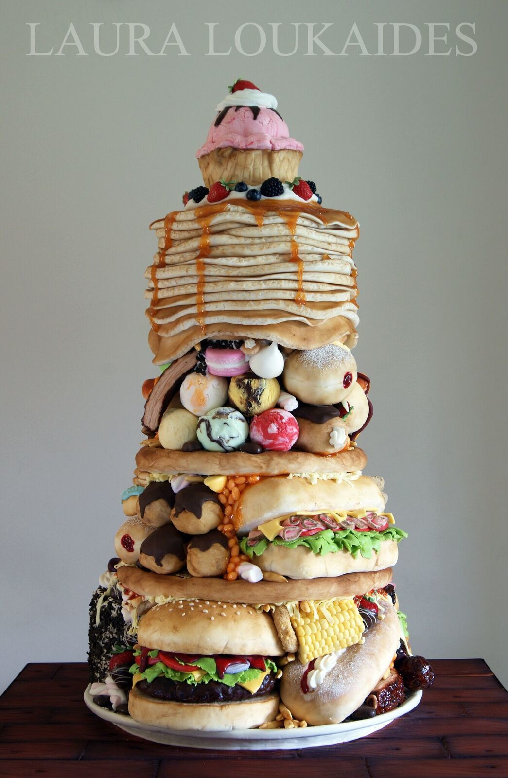 Stack of junk food cake