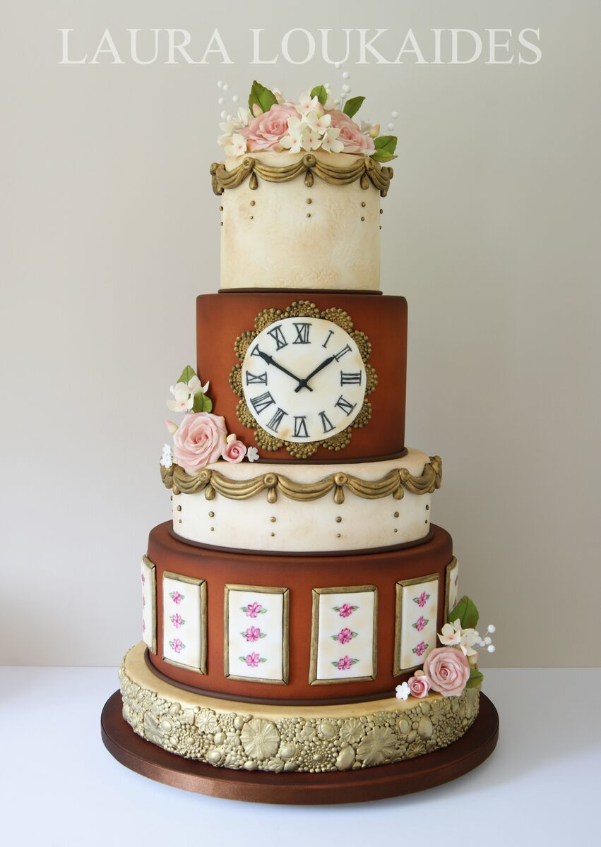 Victorian inspired brown and ivory fondant wedding cake