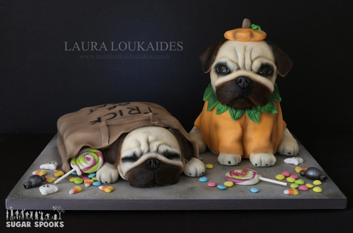 Fondant Halloween dog bust cake