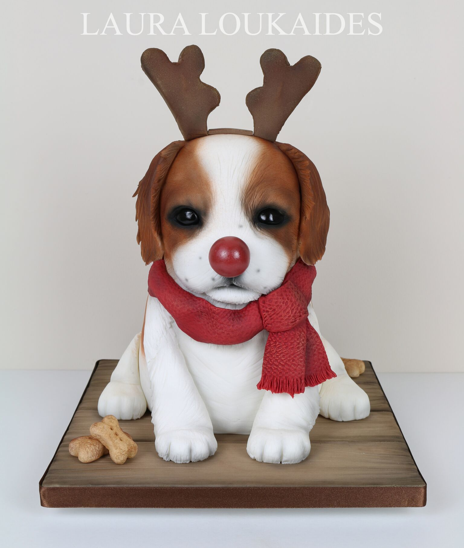 Sculpted Puppy with Reindeer Nose & Antlers