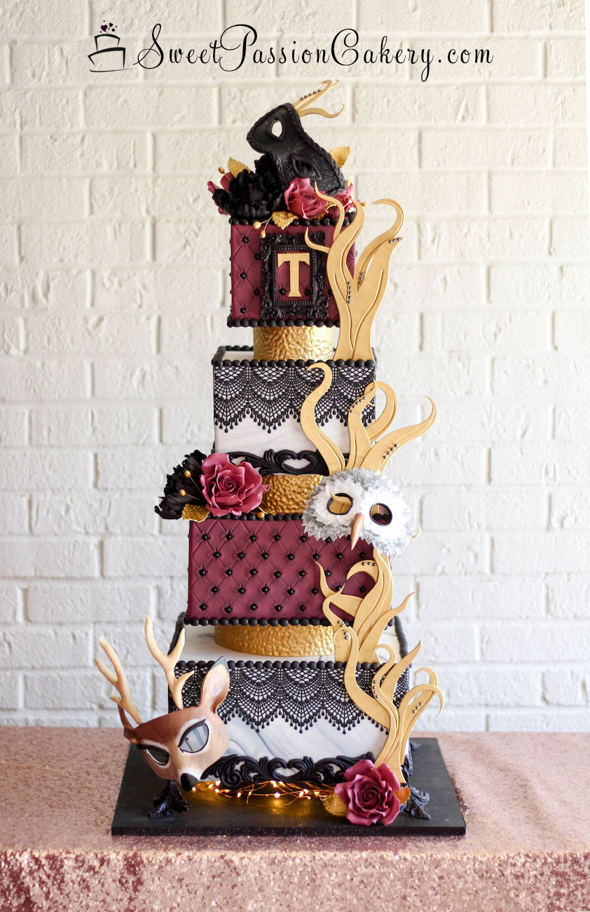 Burgundy and gold fondant masquerade themed birthday cake