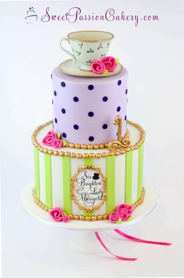 Lavender and bright green tea pot cake