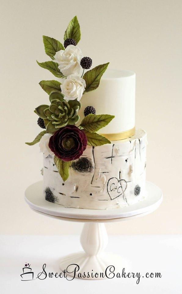 White birch wedding cake with succuelents
