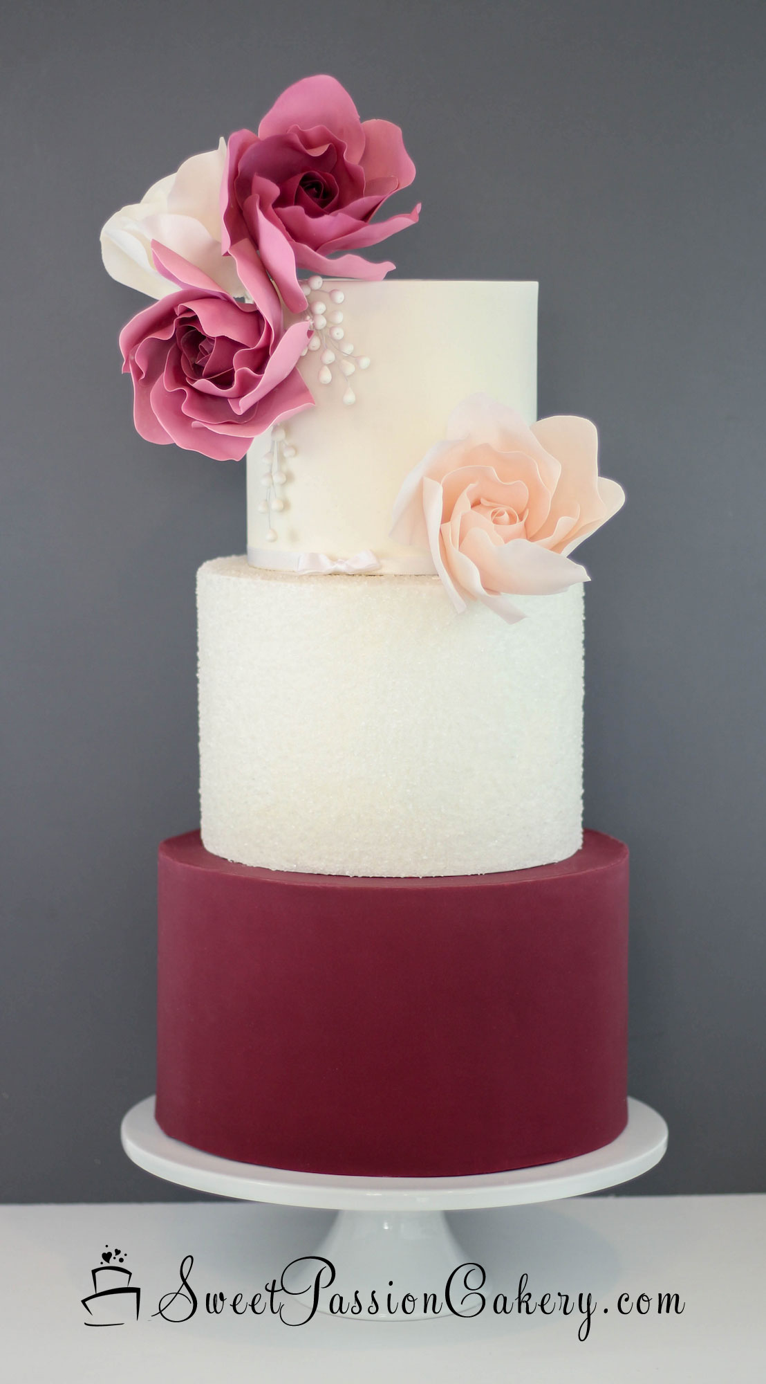 Burgundy & Blush fondant wedding cake