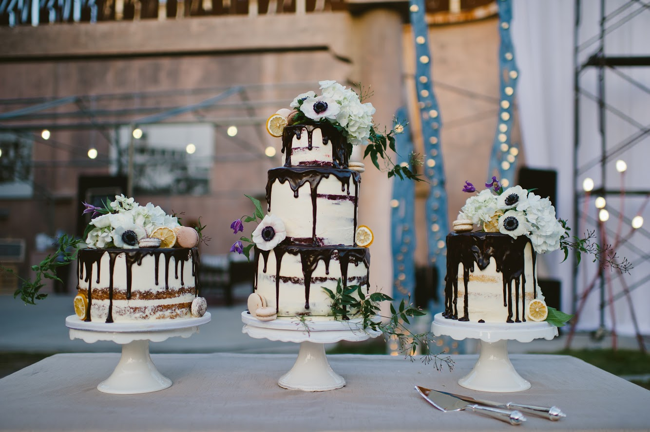 Drip wedding cake trio with sugar flowers