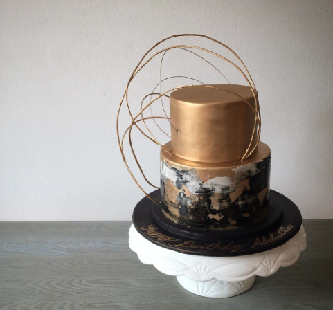 copper and black fondant wedding cake