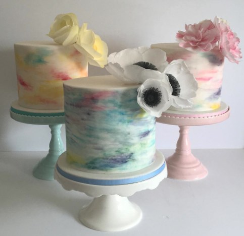Fondant Watercolor birthday girl cakes