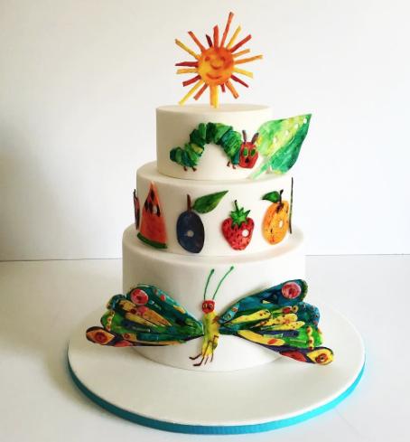 Eric Carle caterpillar fondant cake