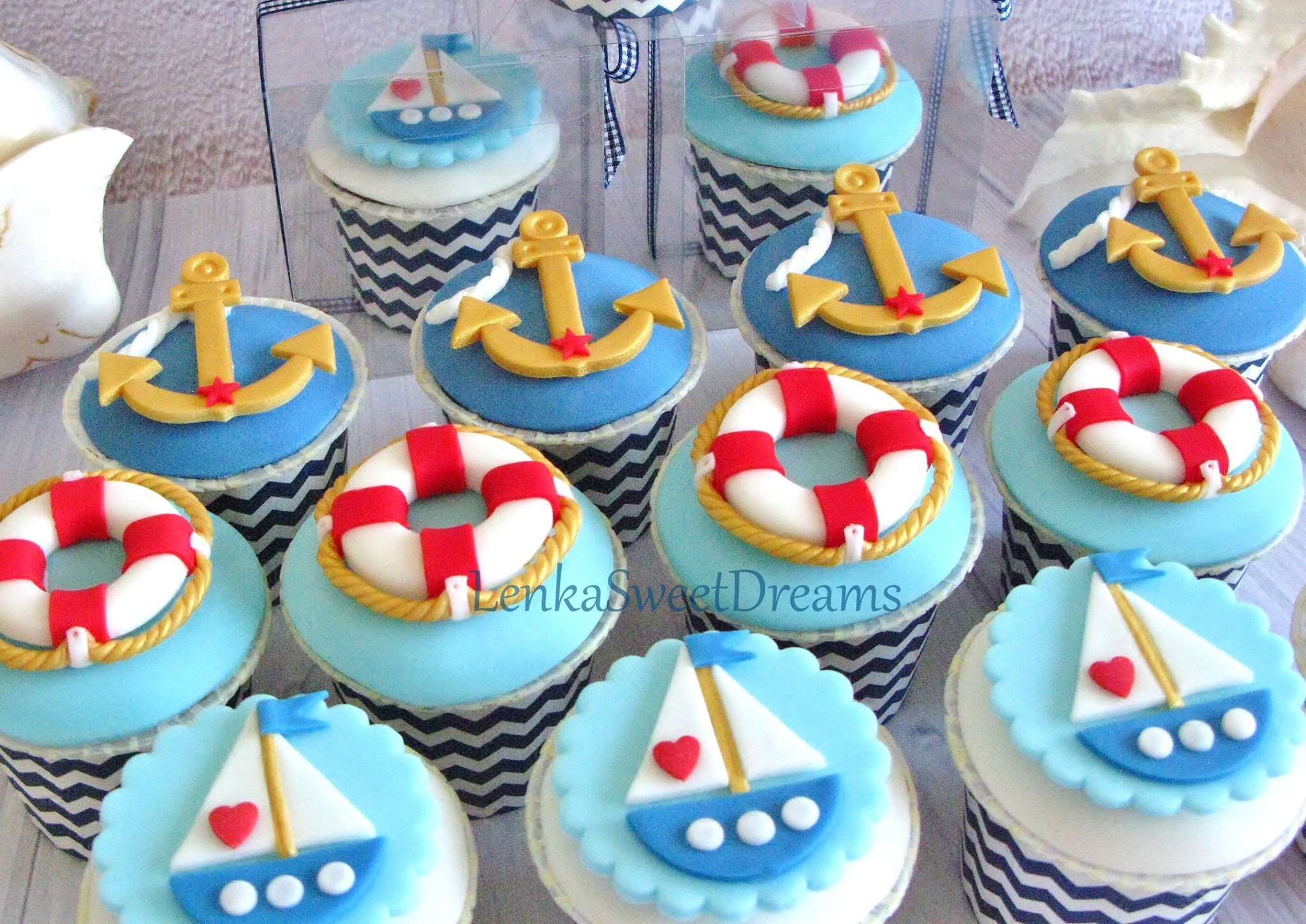 Nautical fondant cupcake toppers