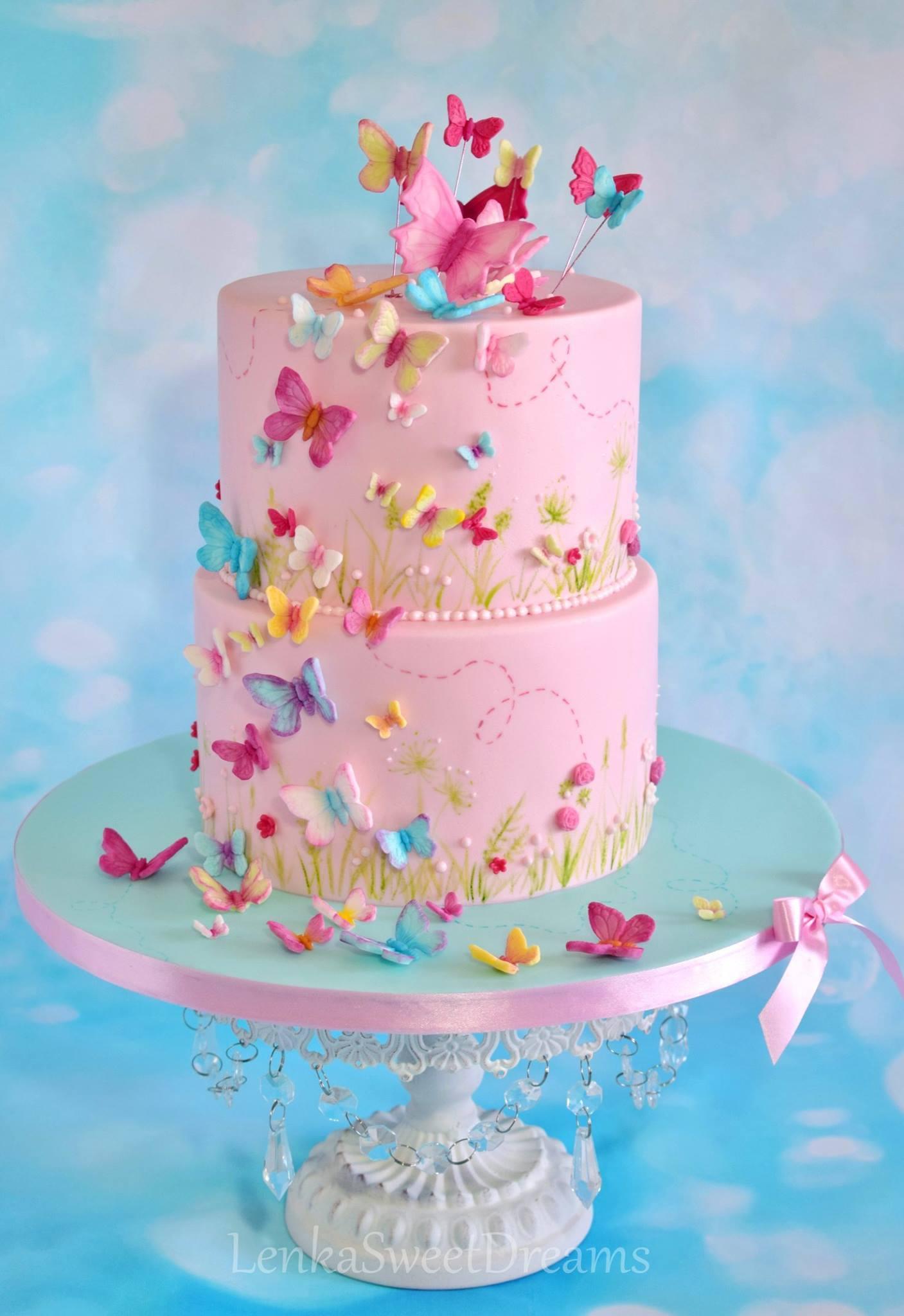 Baby pink fondant butterfly cake