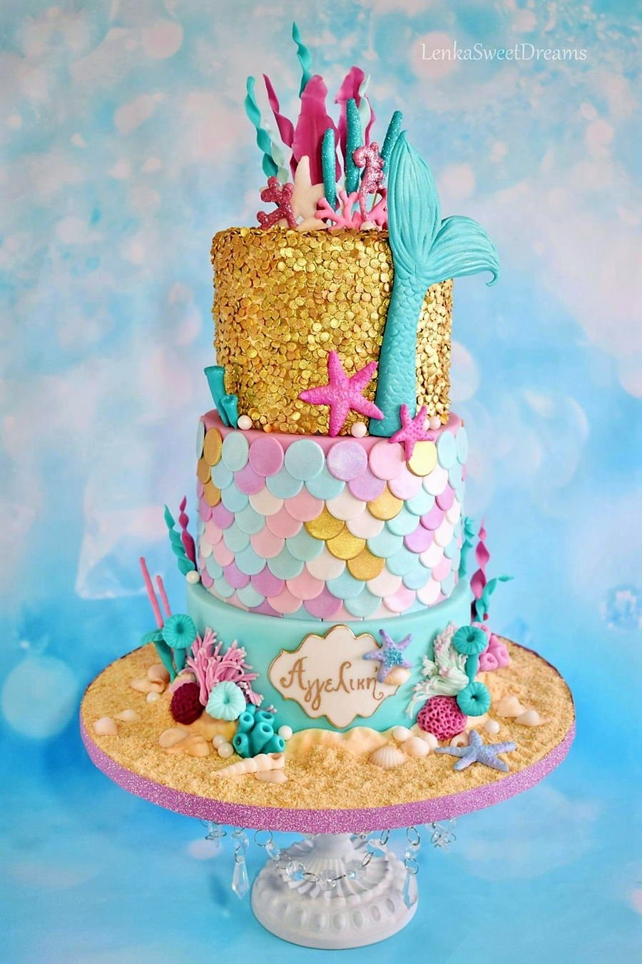 Colorful fondant mermaid birthday cake