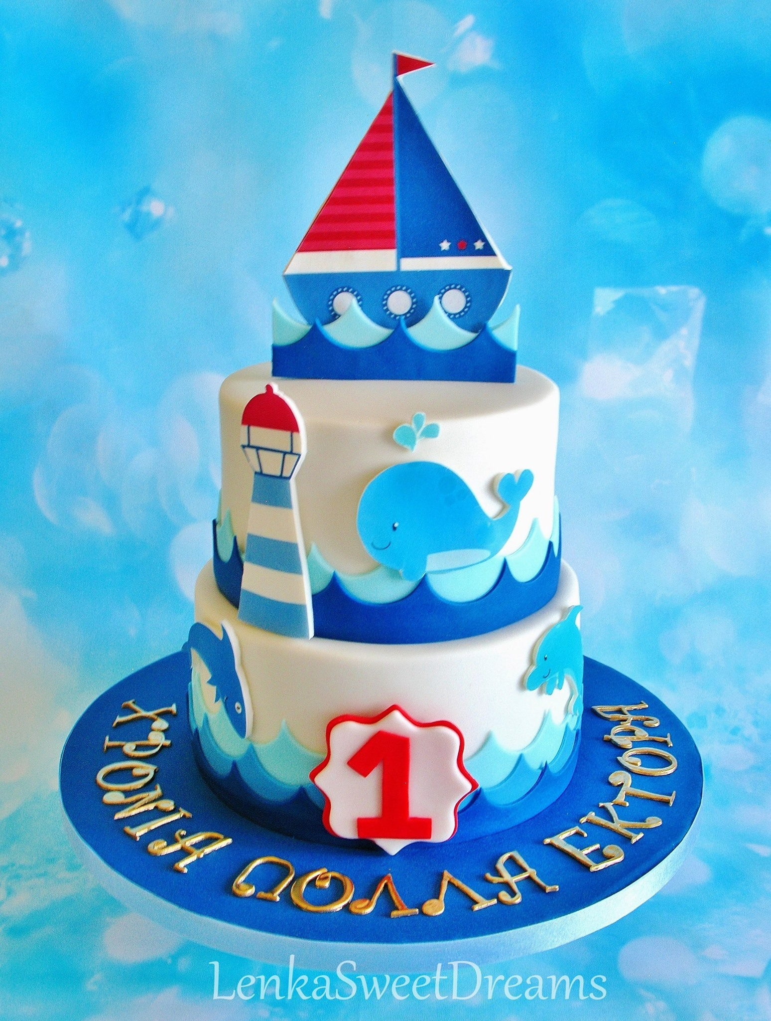 Nautical themed fondant birthday cake