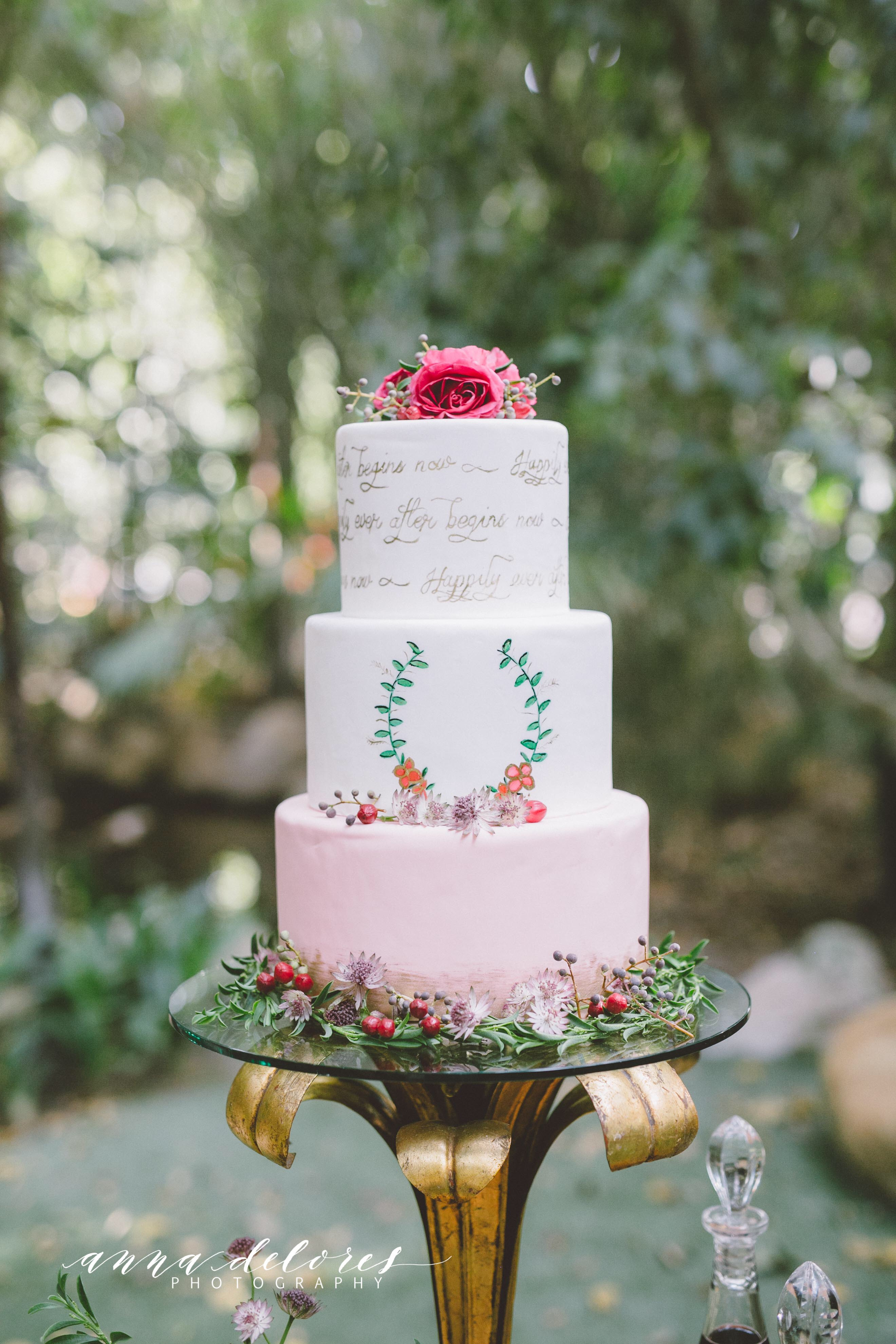 Light pink and white fondant artistic wedding cake