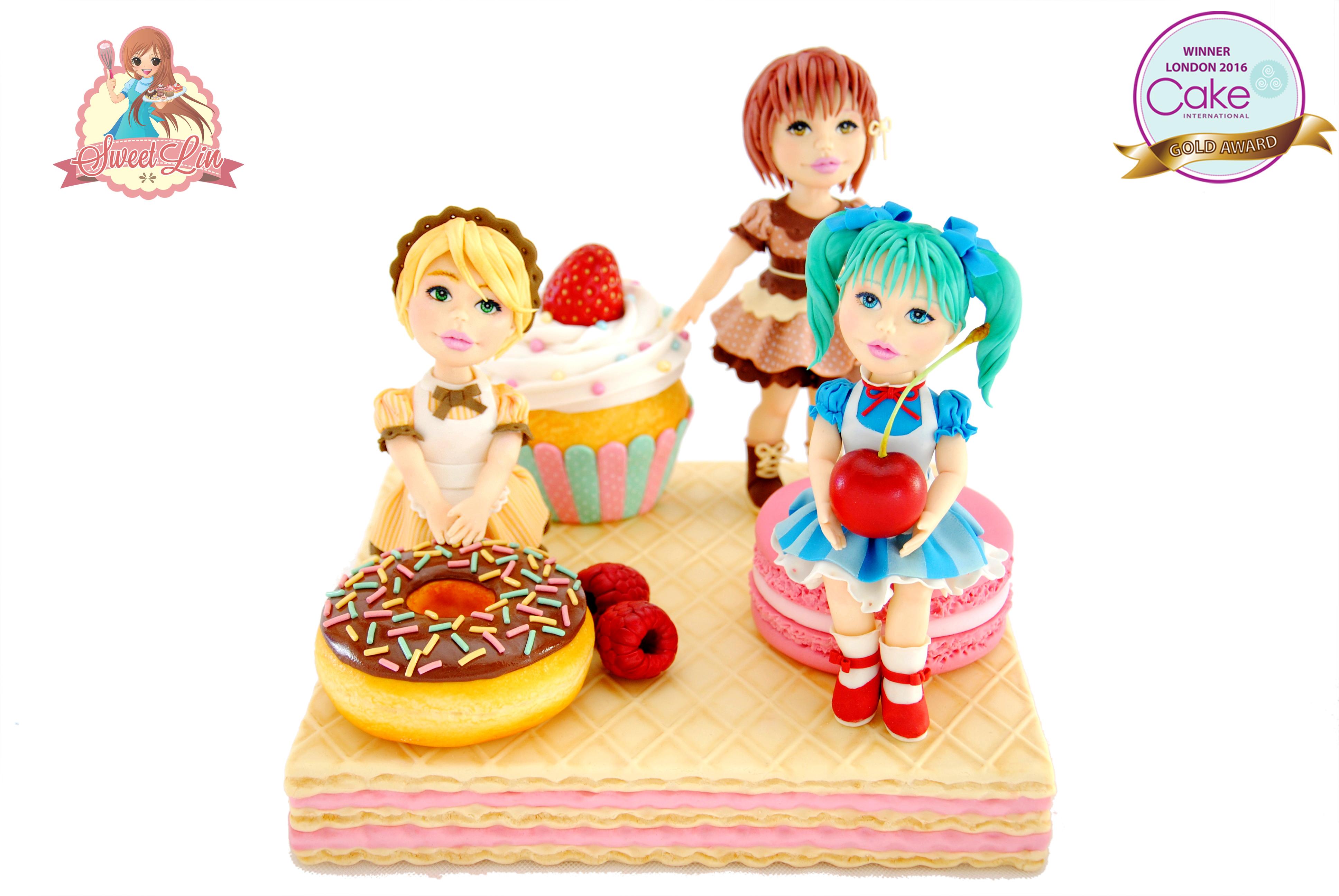Little Girls eating donuts fondant Figurines