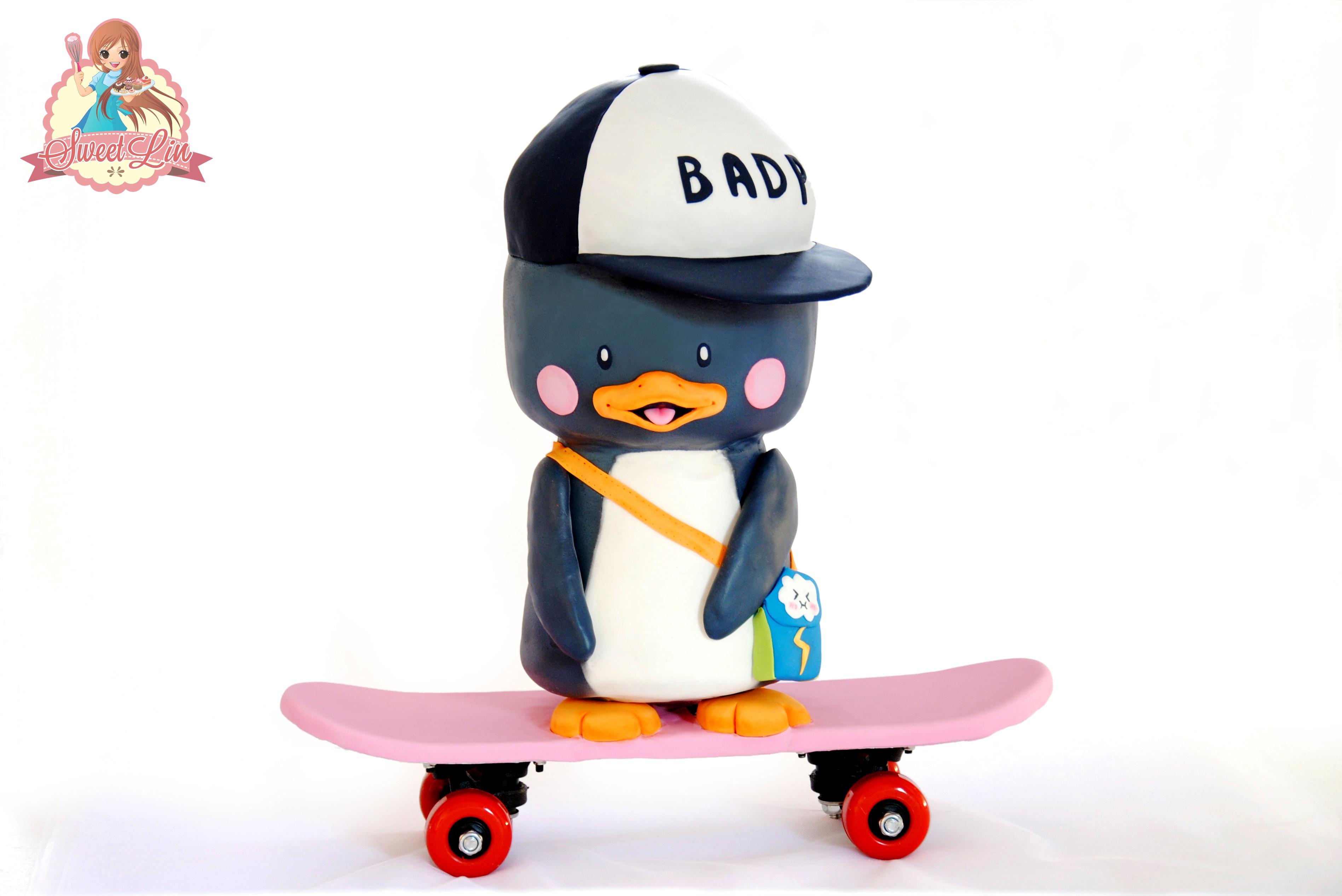 Sculpted Penguin on a Skateboard