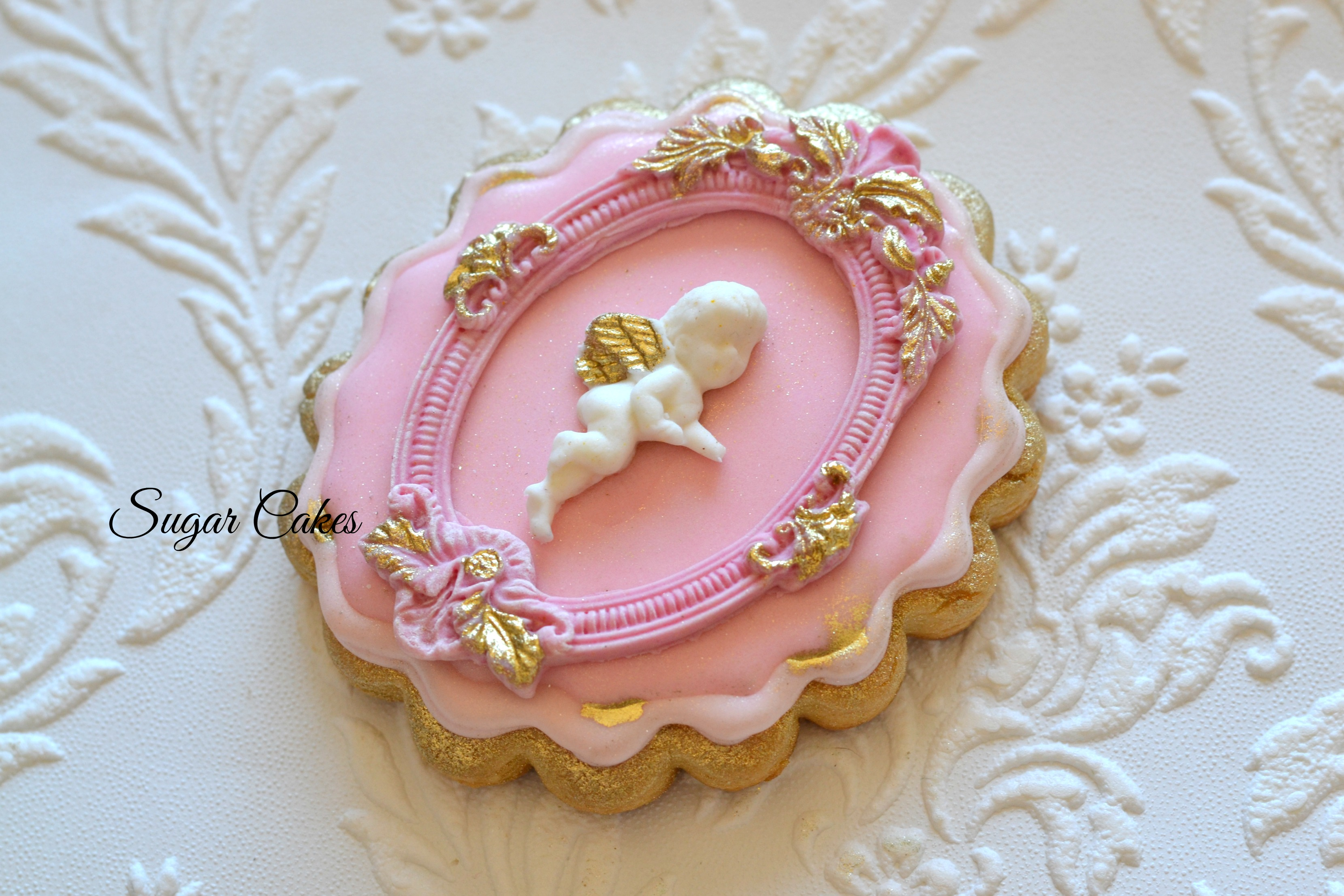 Pink angel victorian cookies