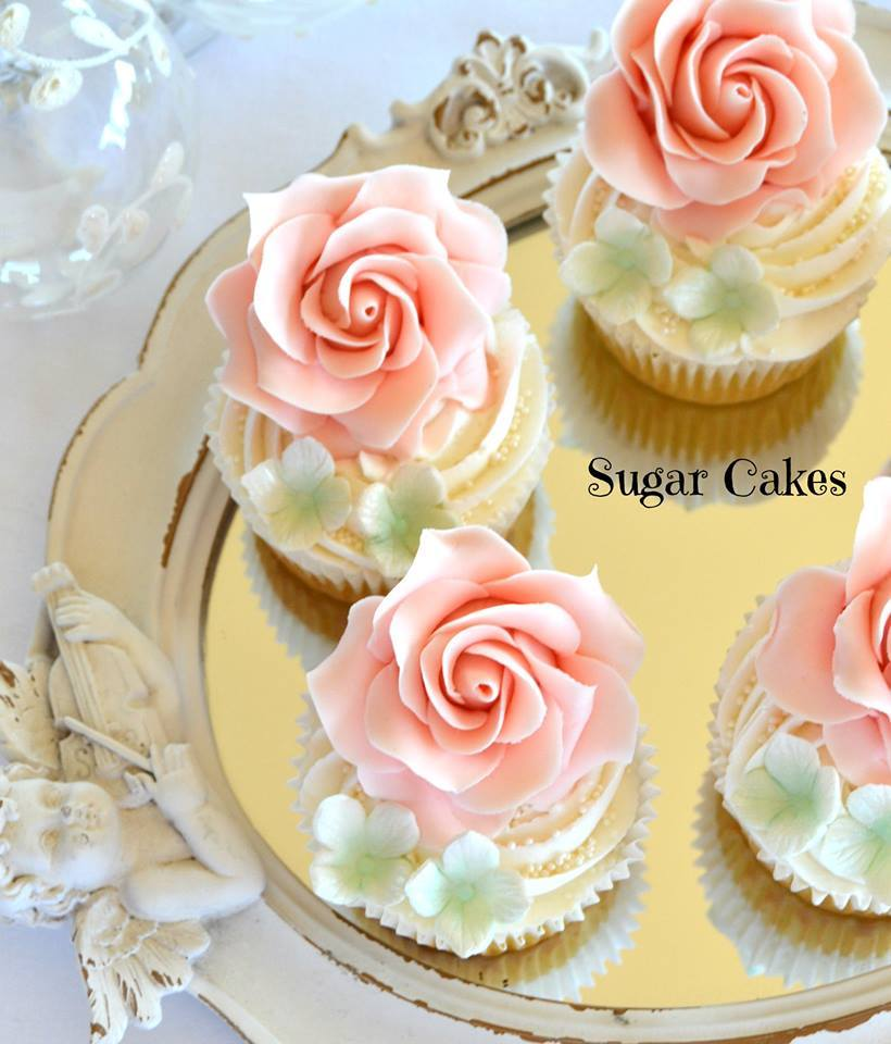Gum Paste Pink Sugar Flower Cupcakes
