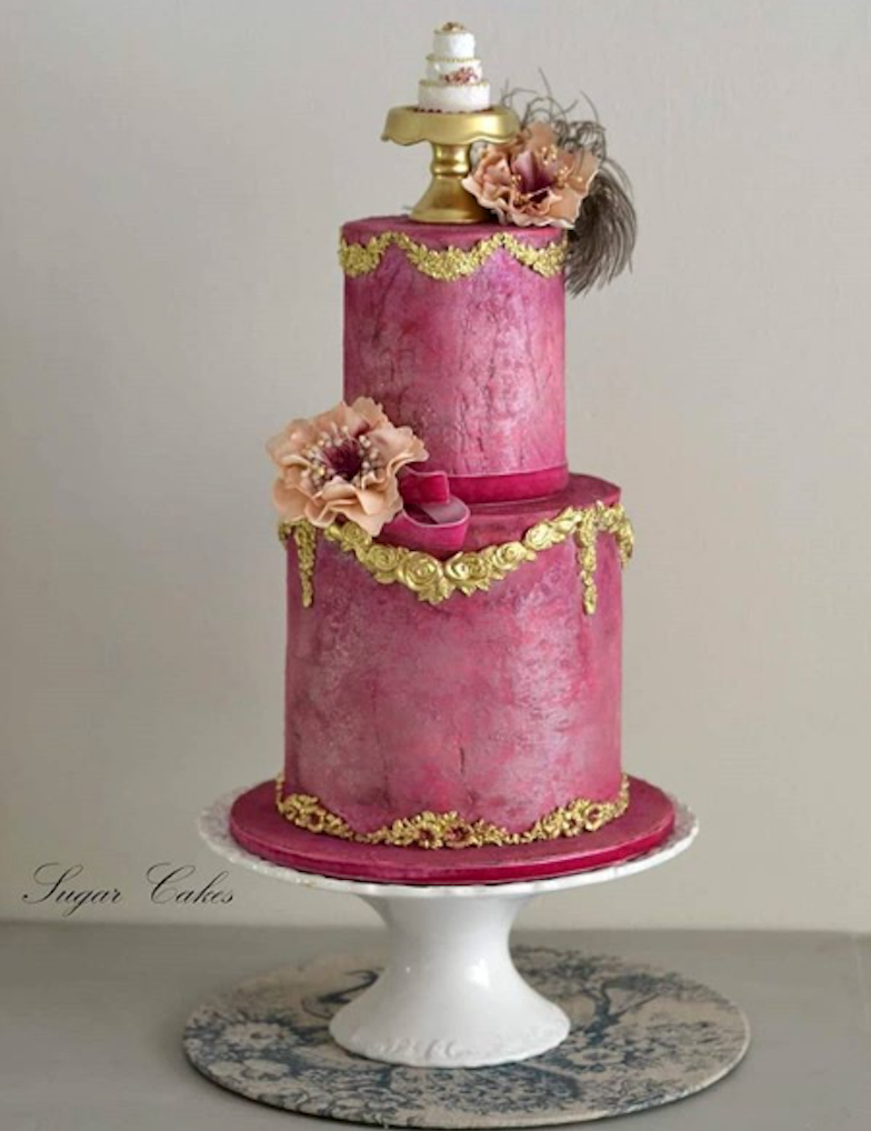 All dark pink Parisian themed fondant wedding cake