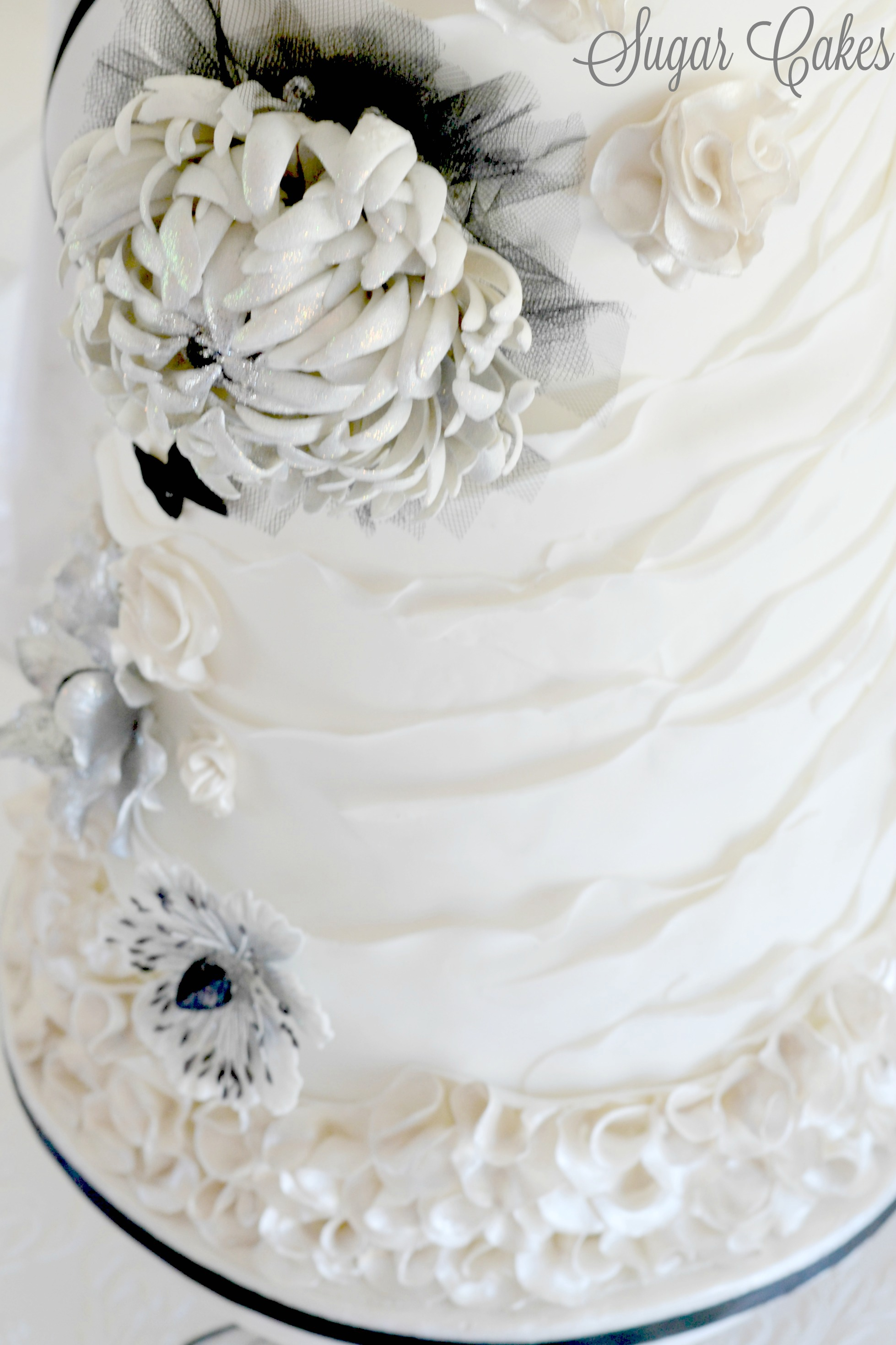 Gray and white ruffle wedding