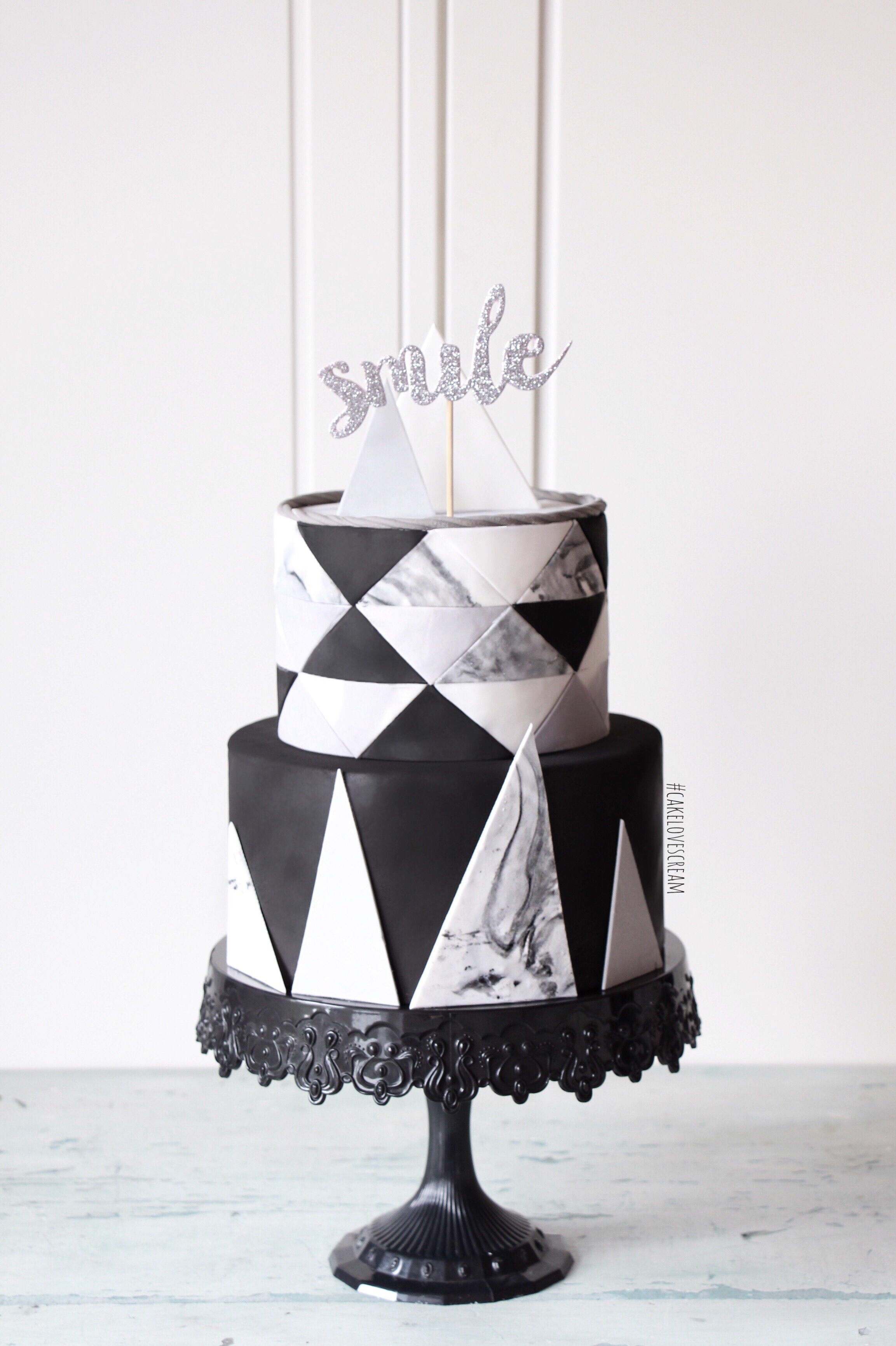 Black and white fondant geometric cake