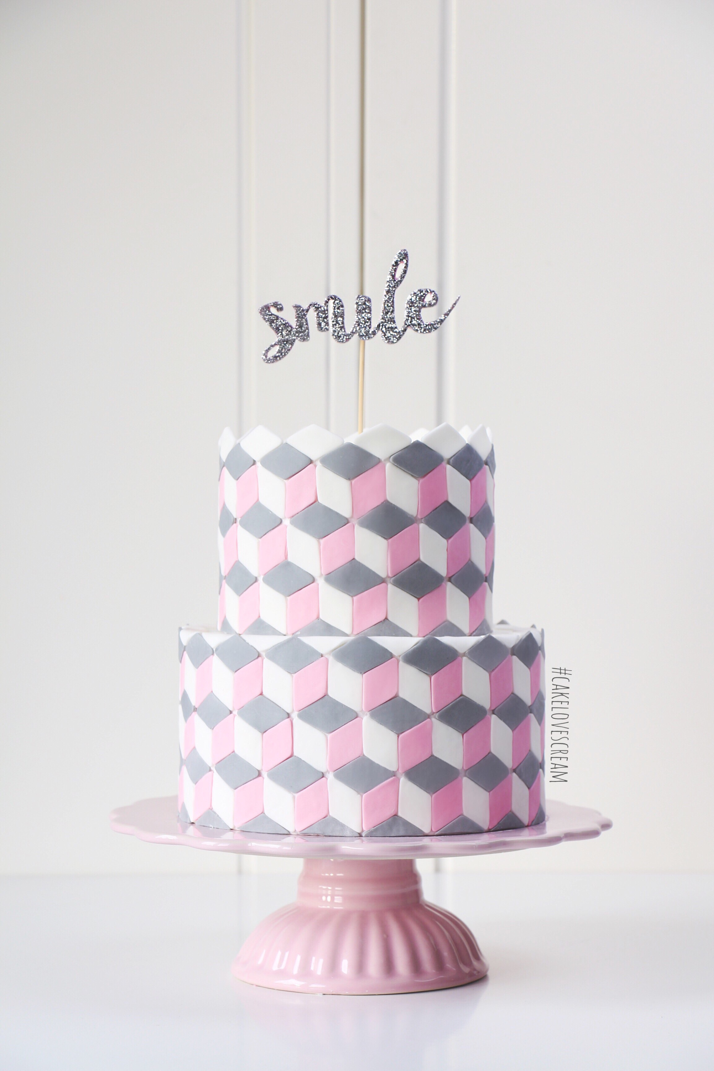 Pink and gray fondant chevron birthday cake