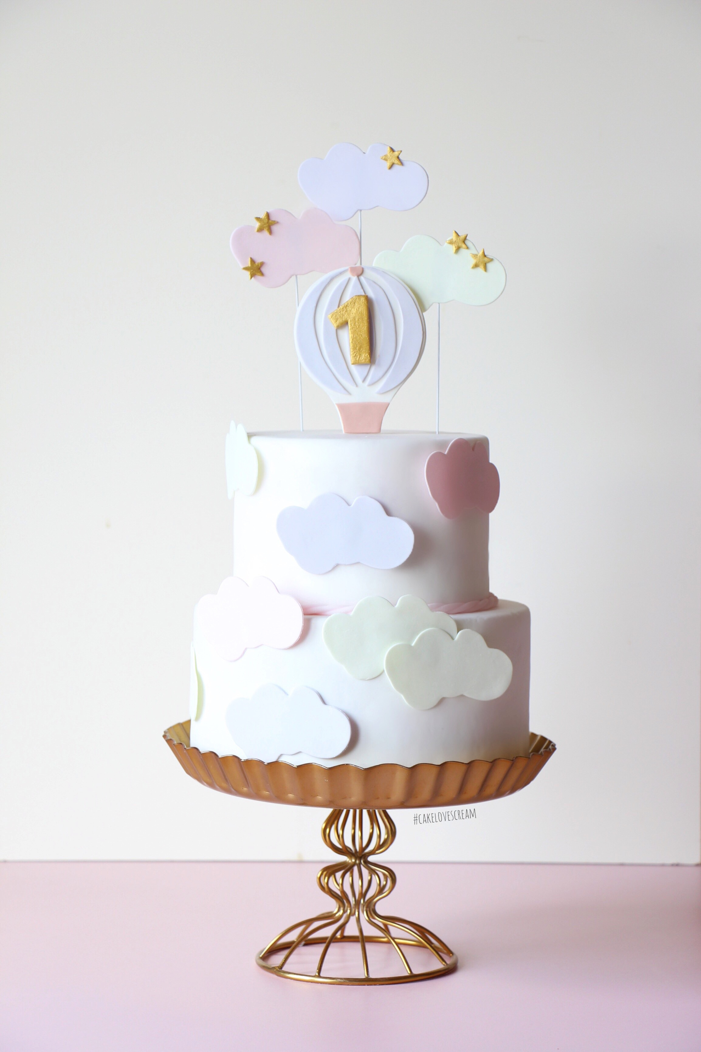 Cloud themed baby birthday cake