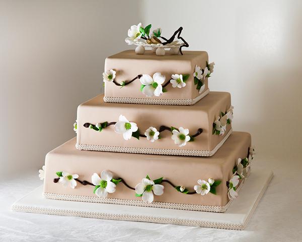 Taupe fondant wedding cake with dogwood flowers