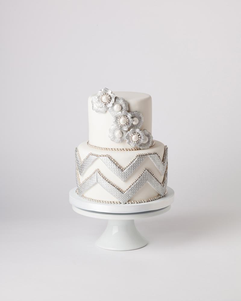 White and silver chevron cake