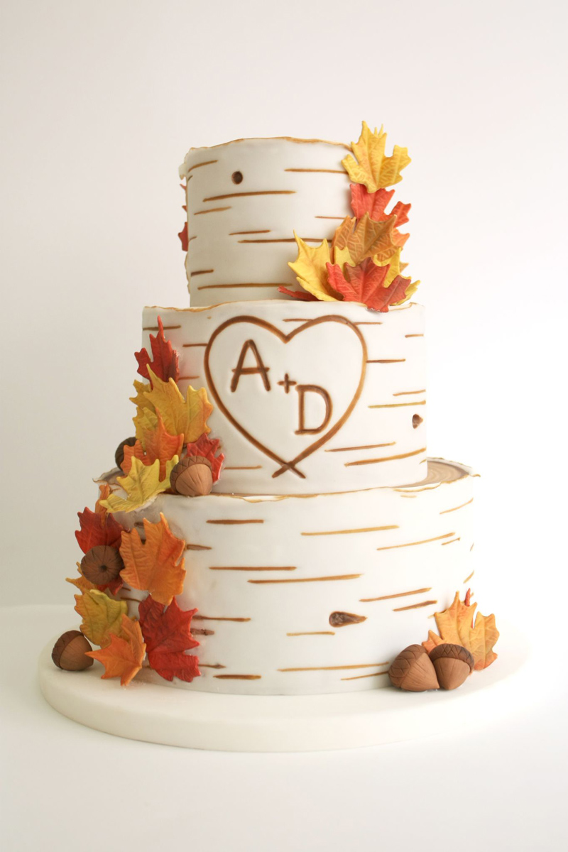 White Tree Bark Wedding cake