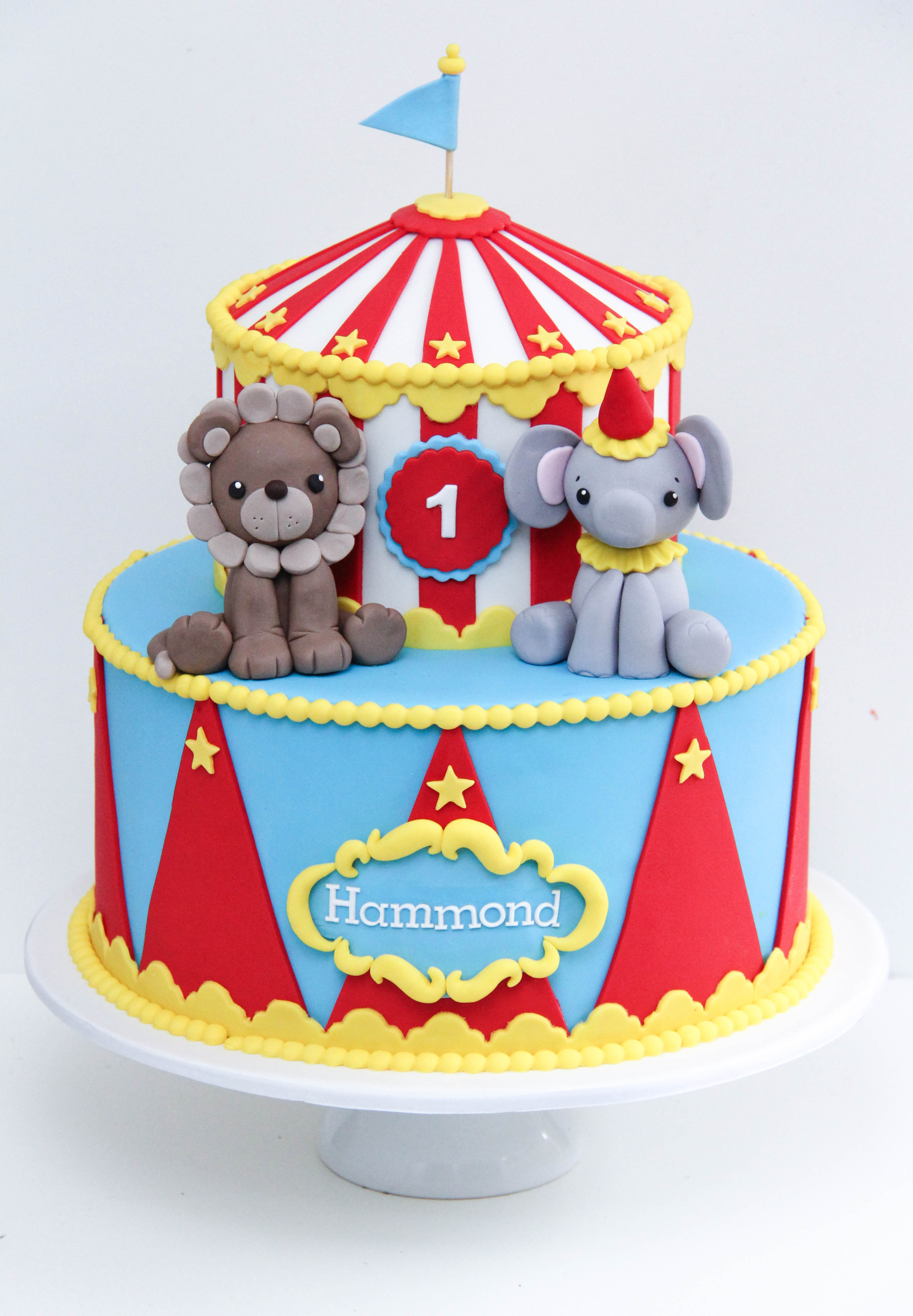 circus 1st Birthday fondant cake