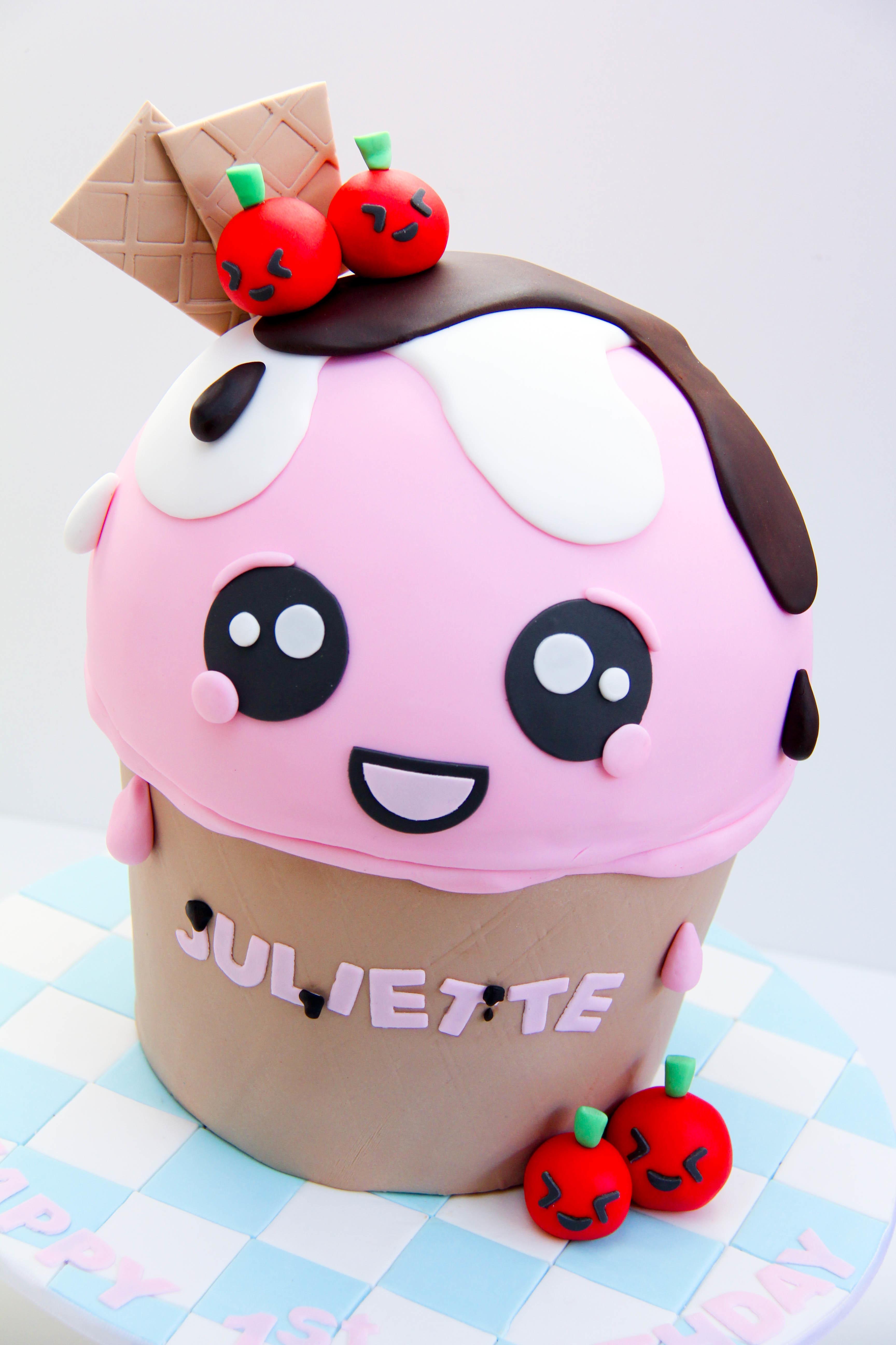 Pink Ice Cream Cone Cake
