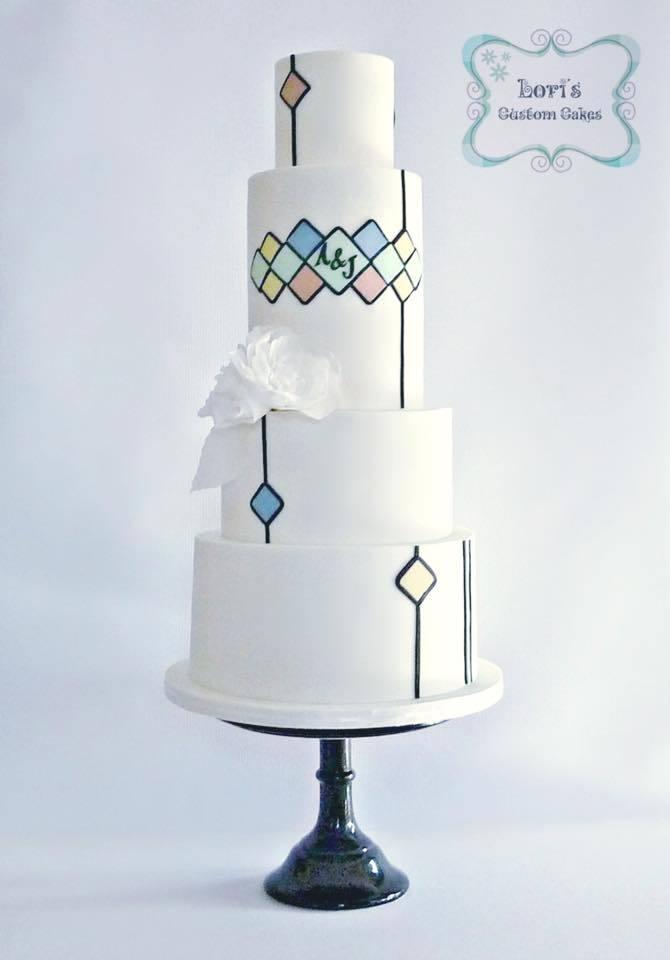 Mixed Geometric Pattern White Wedding