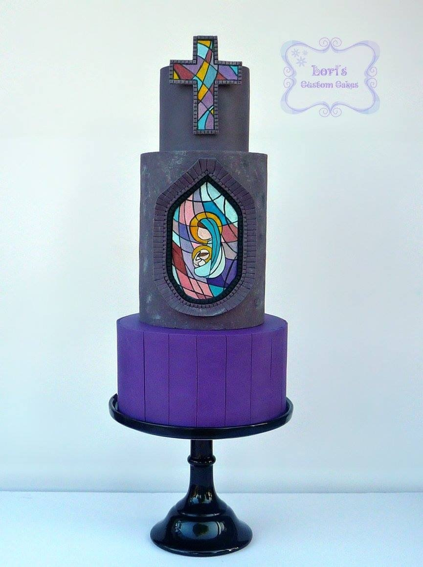 Purple black stained glass cake