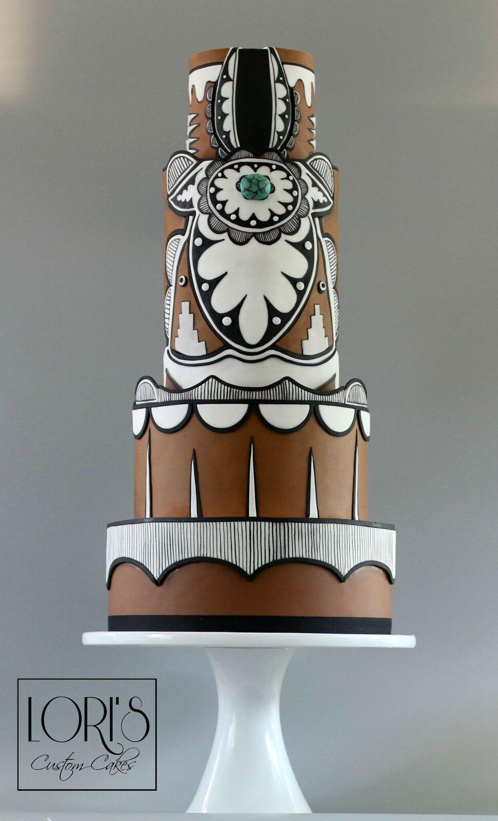 Brown fondant wedding cake with navajo pattern