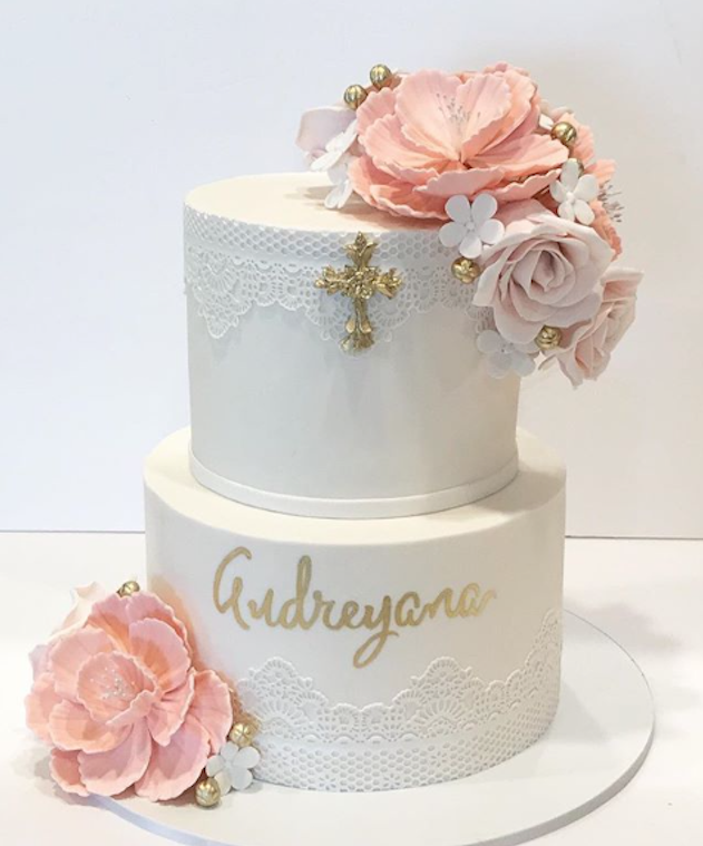 White and light pink baptism fondant cake
