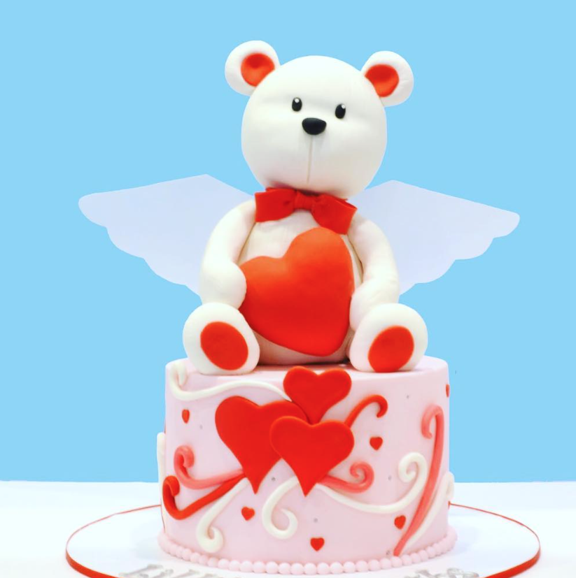 White teddy bear cupid fondant cake topper
