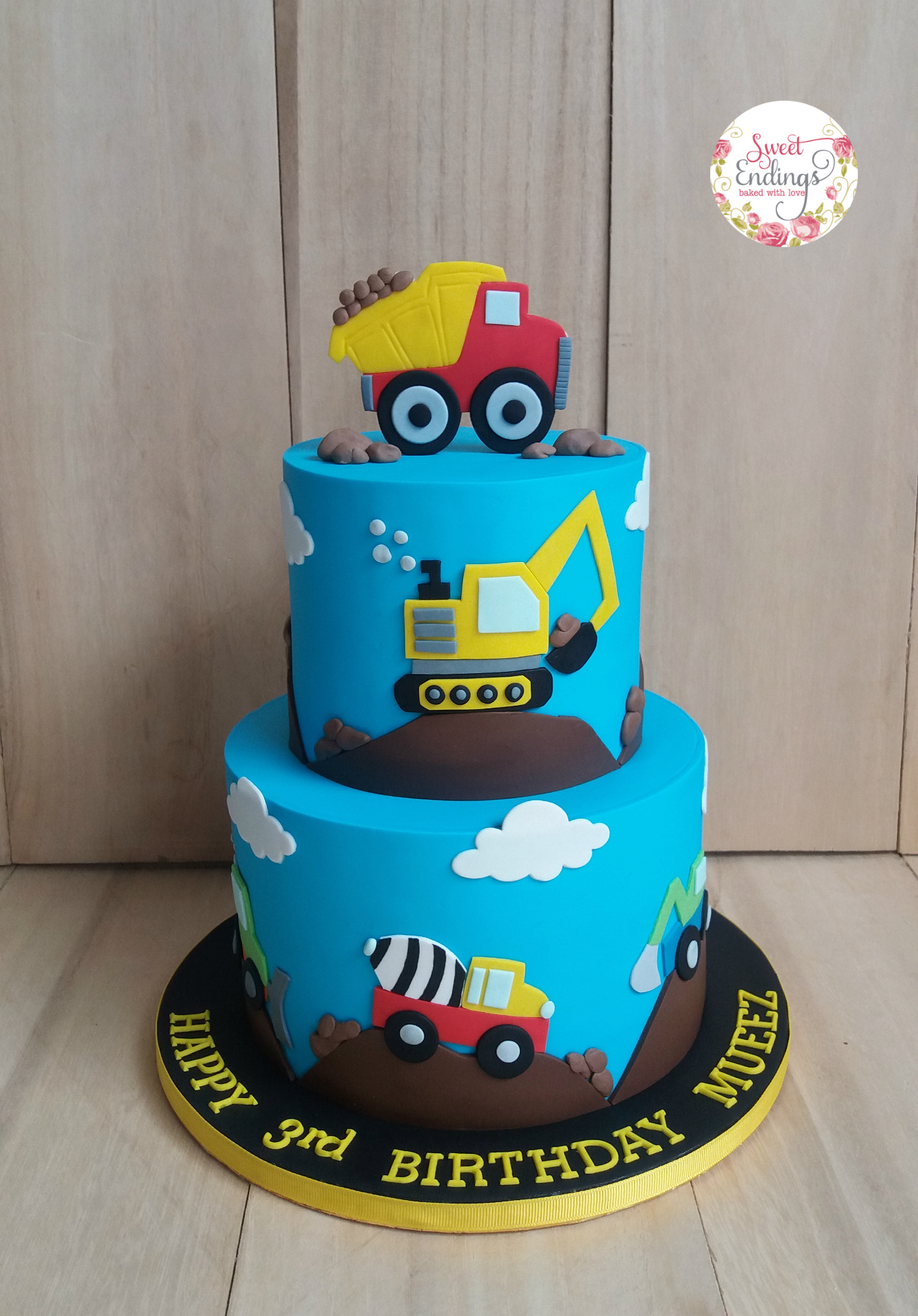 Construction truck 1st birthday fondant cake