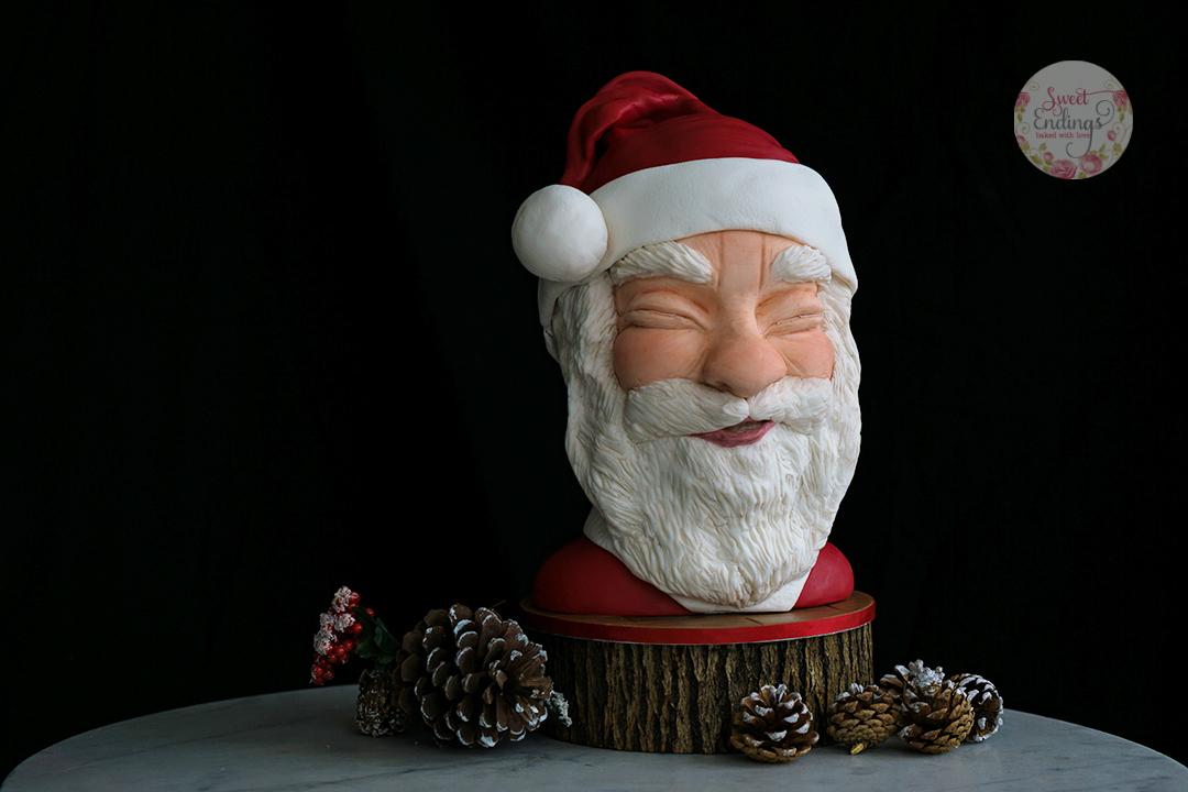 Santa Claus fondant Bust cake