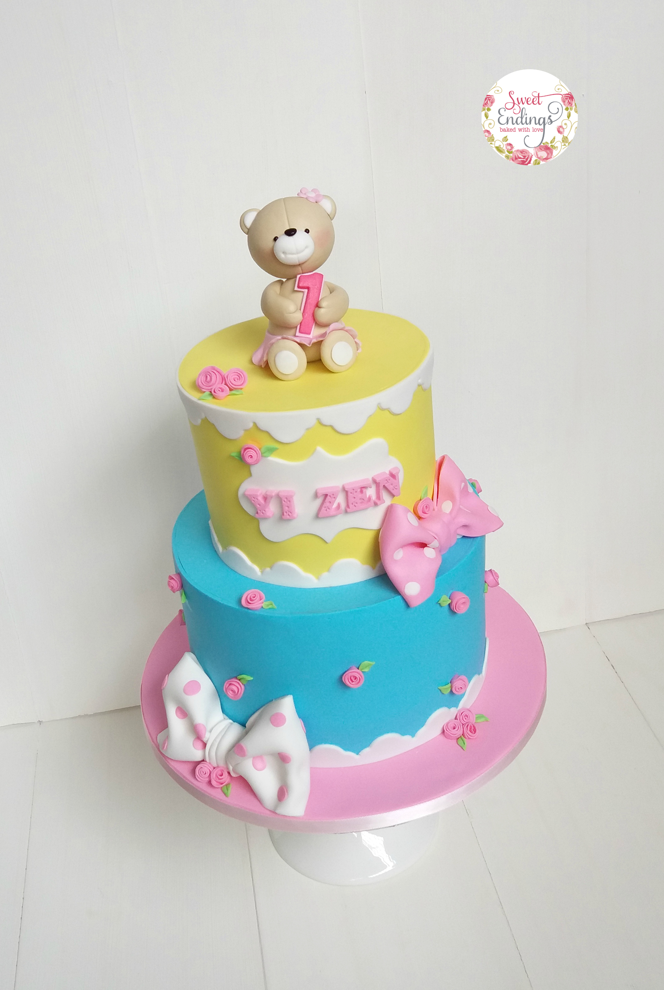 Blue and Yellow Teddy Bear Birthday