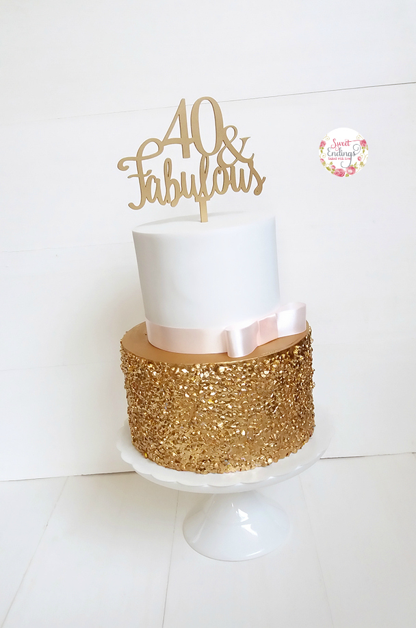 White with gold sparkle fondant birthday cake