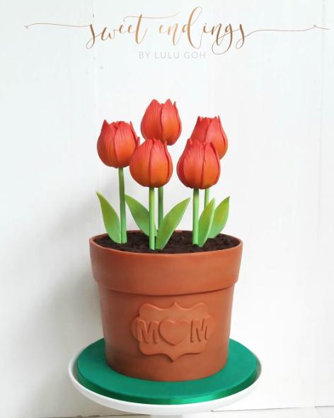 Tulip flower pot fondant cake