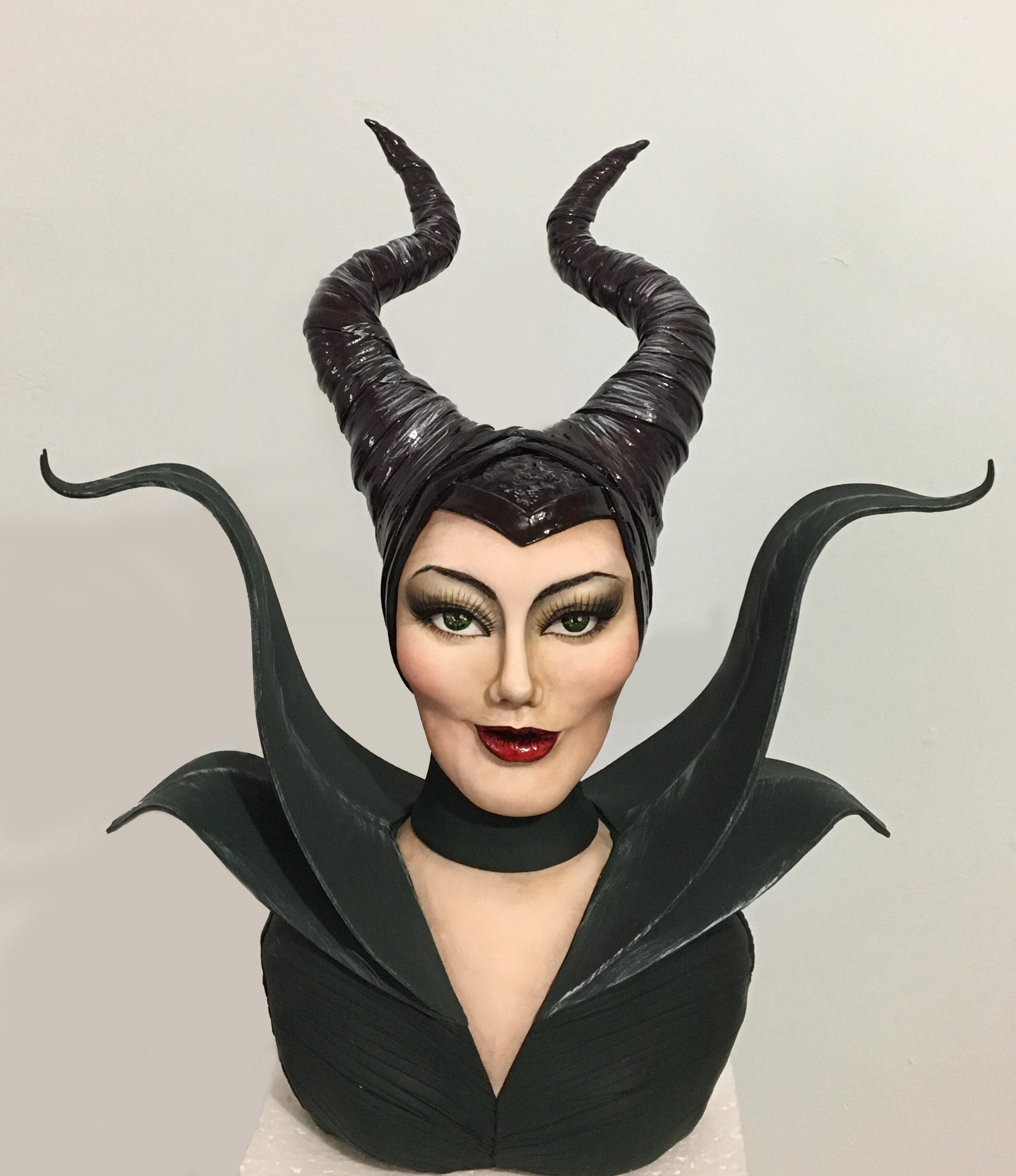 Maleficent fondant bust cake