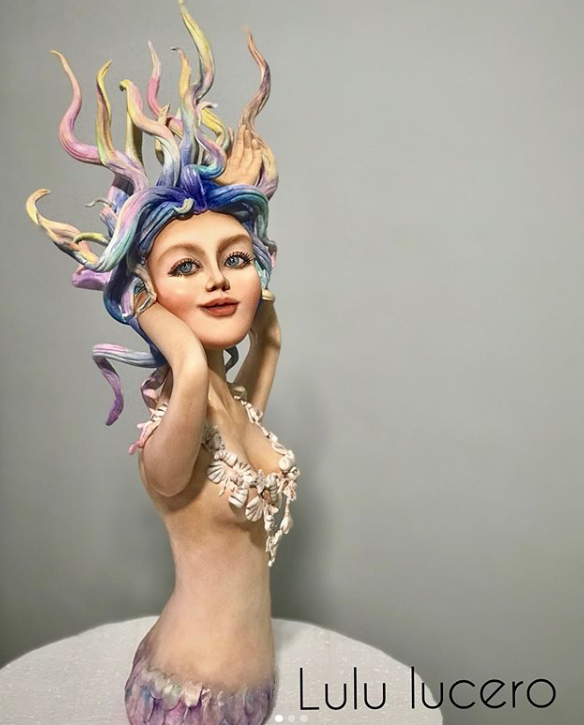 Mythical mermaid fondant figurine