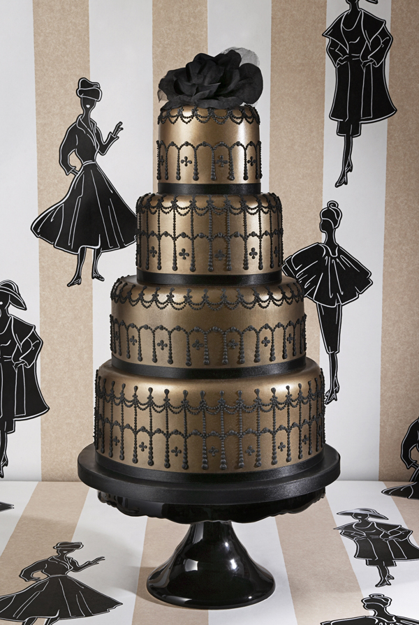 Gold and black fondant tiered wedding cake