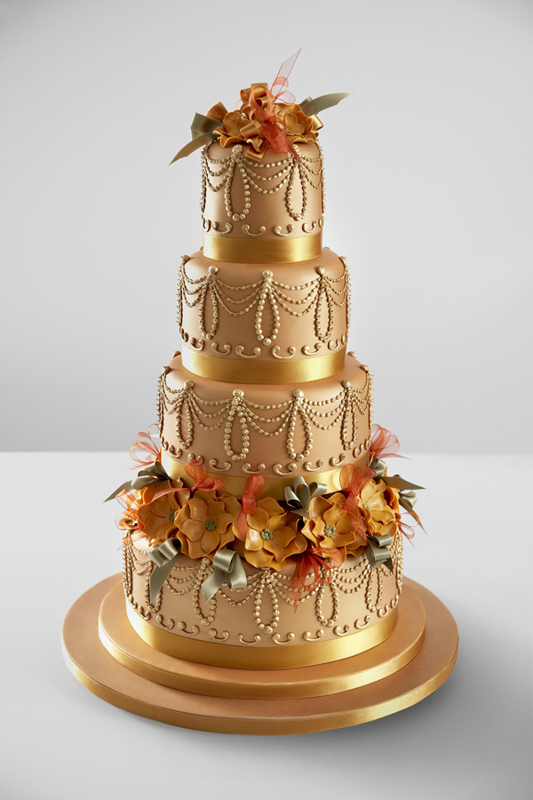 All gold fondant Wedding cake