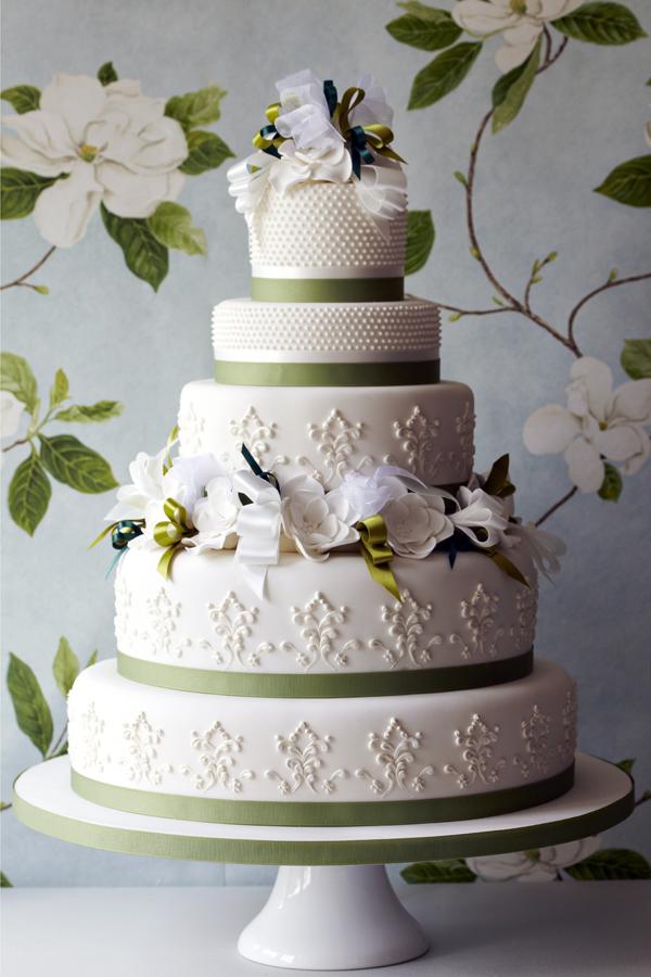 Spring white and green trim wedding