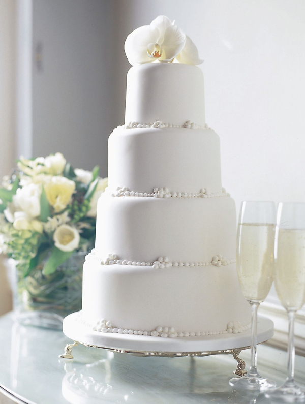 Classic All White fondant Wedding cake