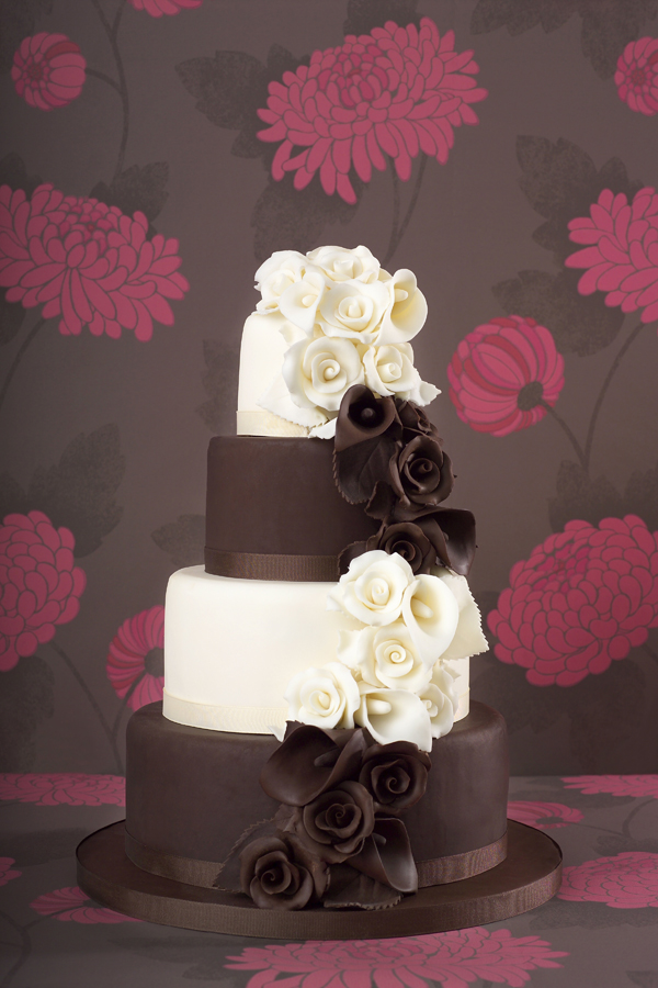Brown and white fondant wedding cake